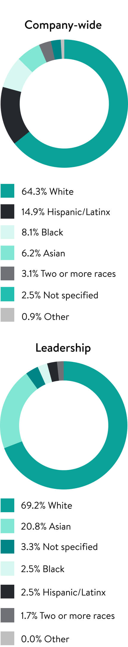 Two pie charts, one for company wide Racial/Ethnic Representation and one for Racial/Ethnic Representation in Leadership.
